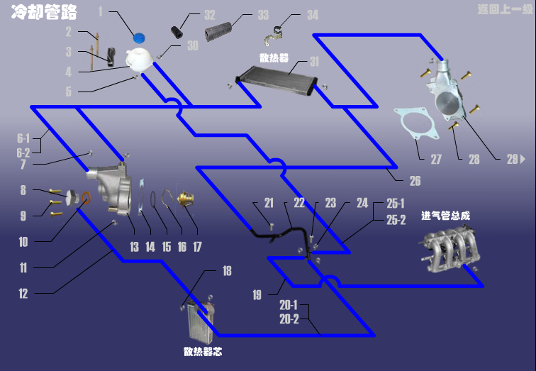 Трубопровод системы охлаждения Chery Amulet A11. Артикул: LQXT-LQGL-480ED
