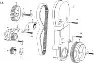 Шків і шестерні колінчастого вала, натягувач ременя газорозподільного механізму (ГРМ) і водяний насос. Артикул: a13-3-5