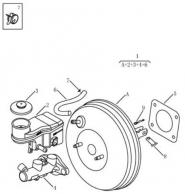 Вакуумний підсилювач гальма та головний гальмівний циліндр. Артикул: gmk-464-64-050