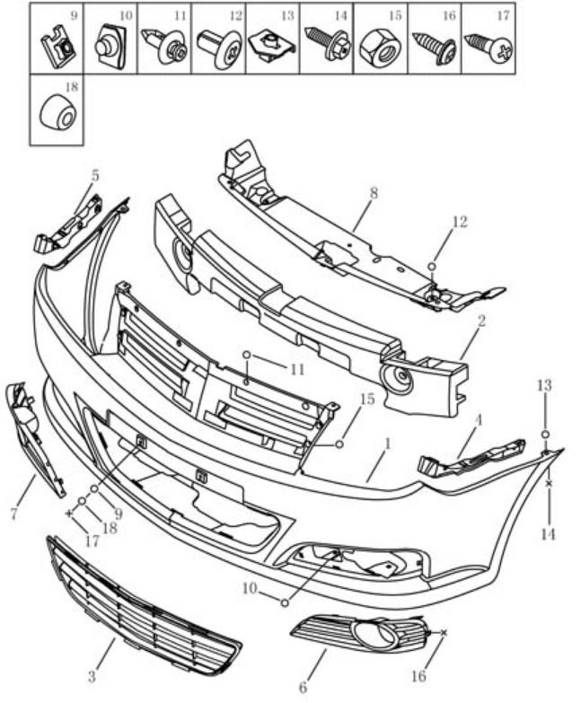 Бампер передній Geely MK2 (LG-3). Артикул: gmk2-610-10-060