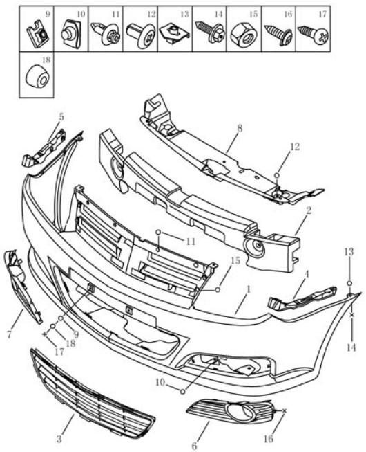 Бампер передній Geely MK2 CROSS (LG-3A). Артикул: gmk2c-610-10-06