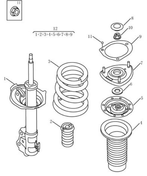 Амортизатор передній Geely MK2 CROSS (LG-3A). Артикул: mk2c-414-14-050