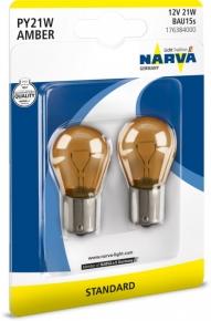 Лампа галогенная NARVA (1 контакт красная). Артикул: py21w12v